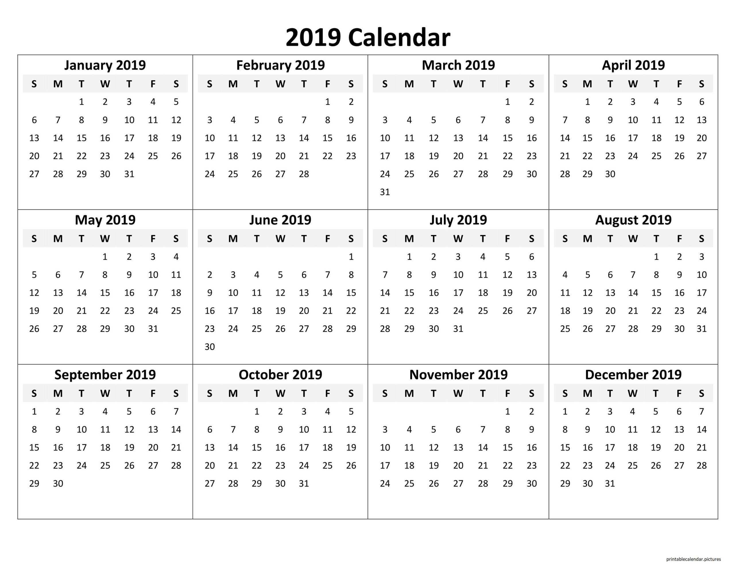 Printable Yearly Calendar 2019   Yearly Calendar Template