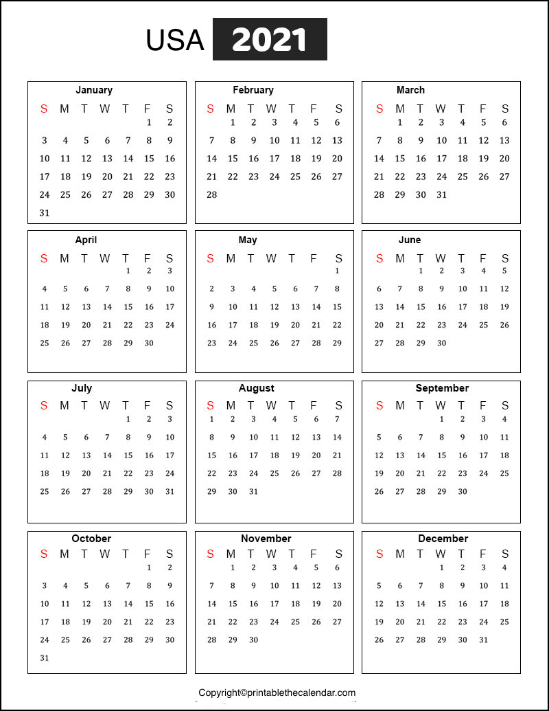 Printable Yearly Calendar With Holidays 2021   Free Letter