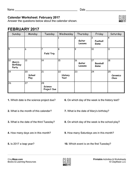 Reading A Calendar Worksheet - C - Childrens Educational