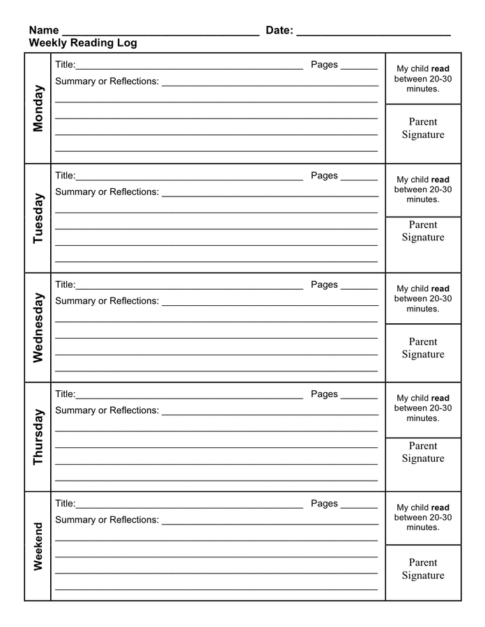 Reading Log Template - Download Free Documents For Pdf
