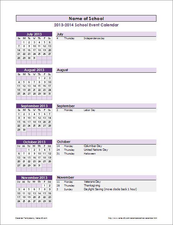 School Calendar Template | Event Calendar Template School
