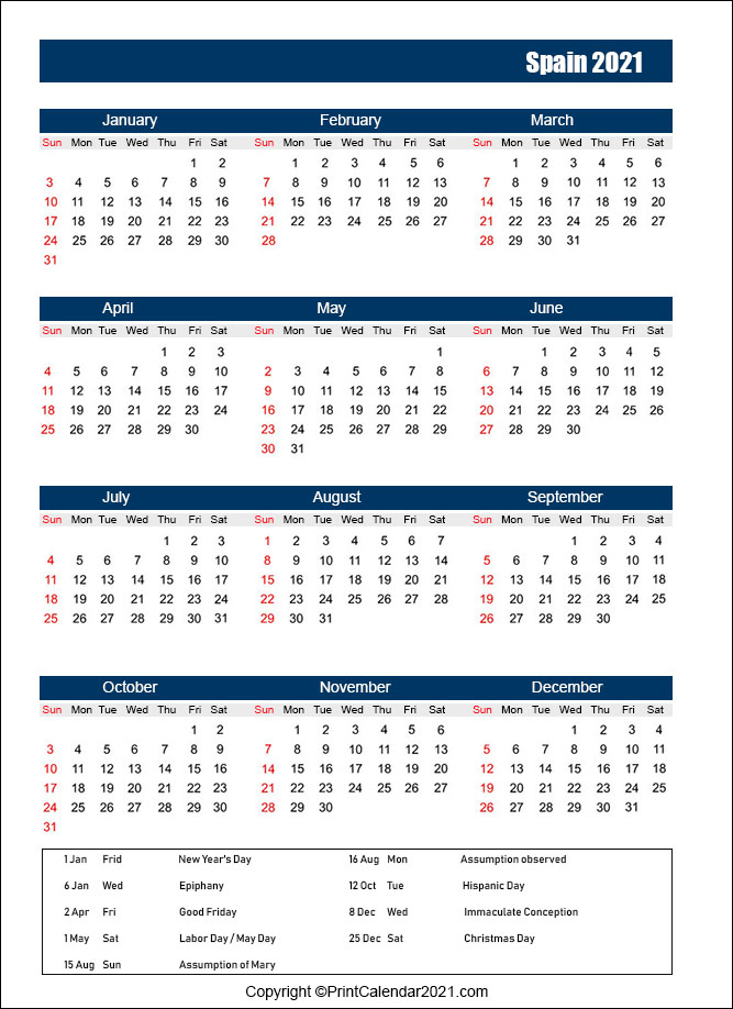 Spain Holidays Calendar 2021