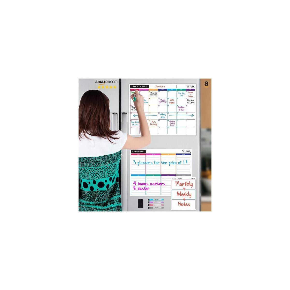 Stylio Dry Erase Calendar Whiteboard Set Of 3 Magnetic Calendars For Rebate - Rebatekey