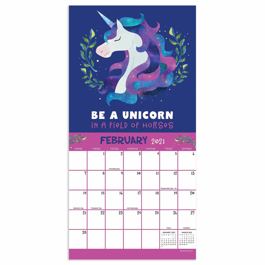Unicorns Mini Calendar 2021 At Calendar Club