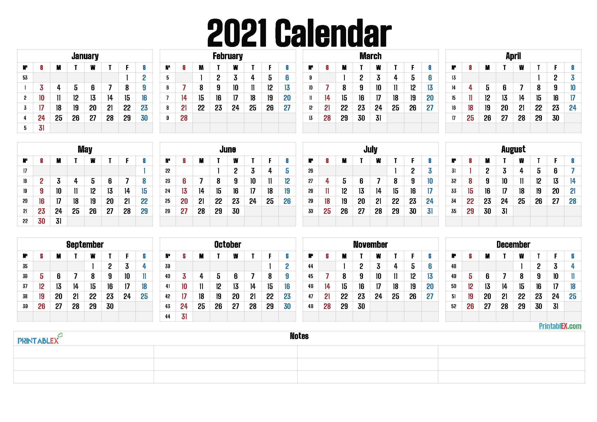 Universal 2021 Calendar With Week Number | Get Your