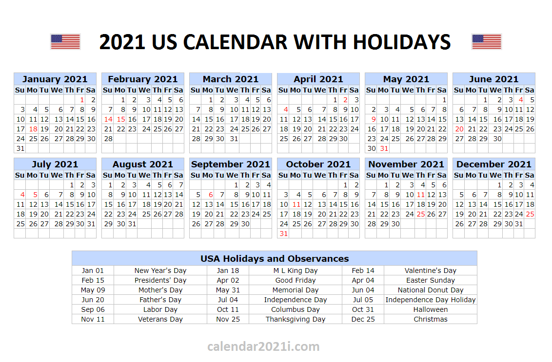 Us 2021 Calendar With Holidays | United States Printable