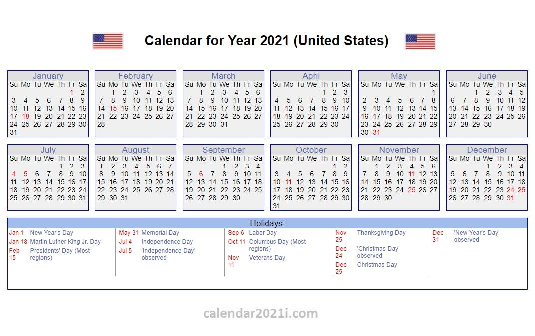 Us Holidays Calendar 2021 - Calendar 2021
