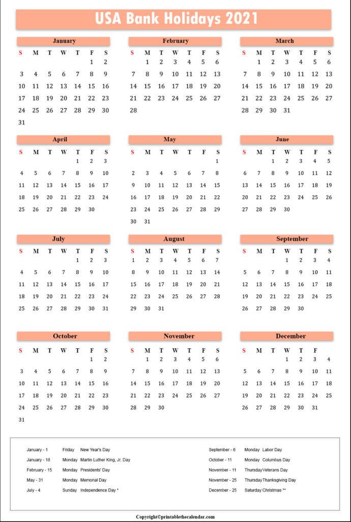 Usa Bank Holidays 2021 | Printable The Calendar