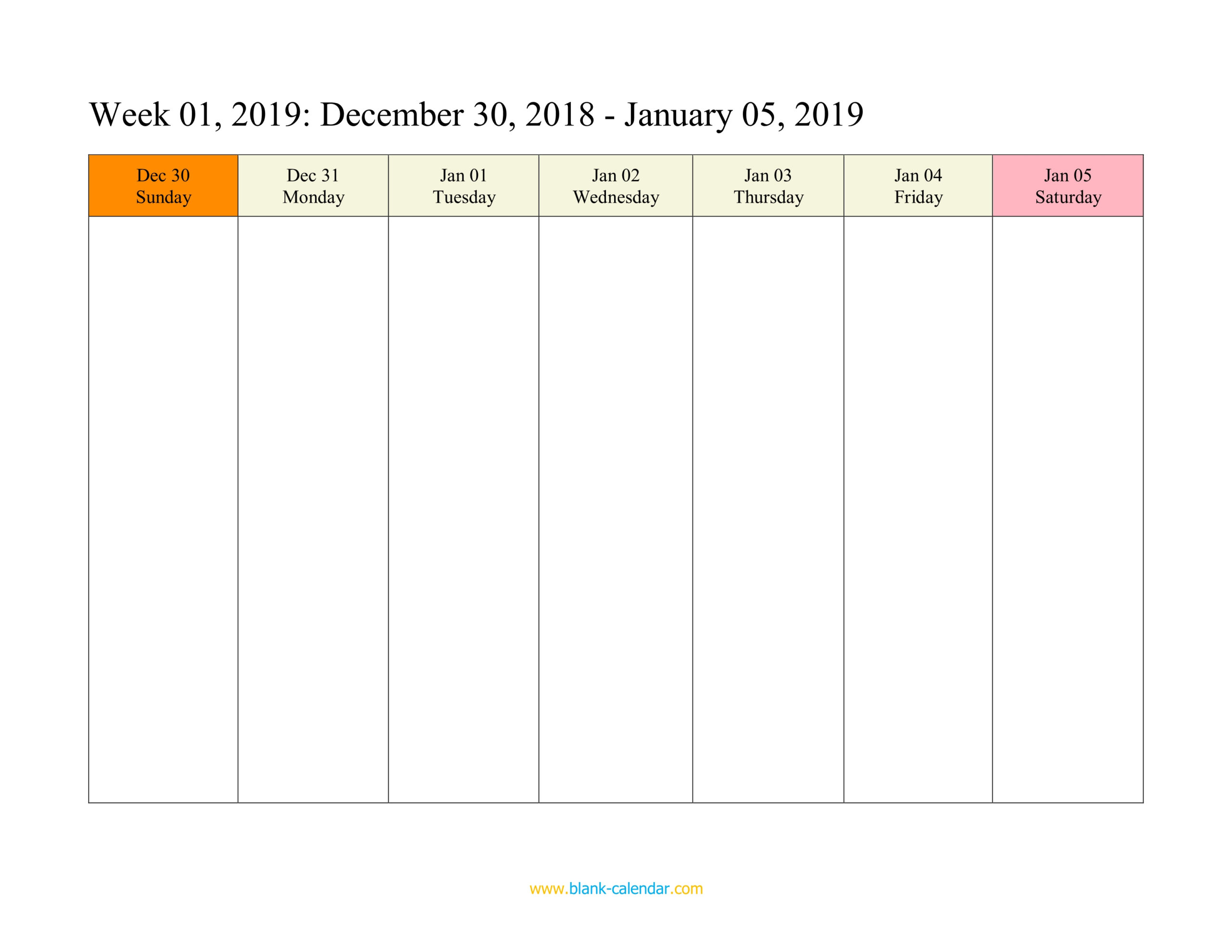Weekly Calendar 2019 (Word Excel Pdf)