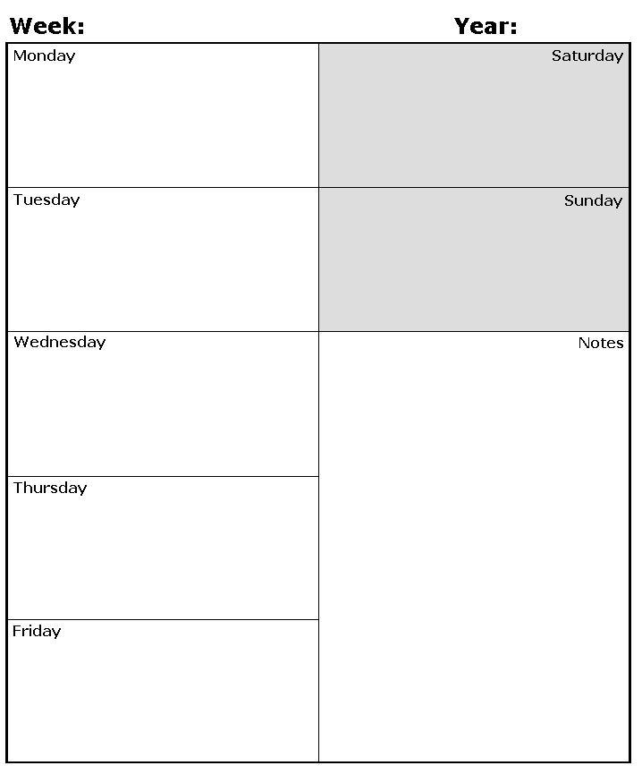 Weekly Calendar Template Pdf