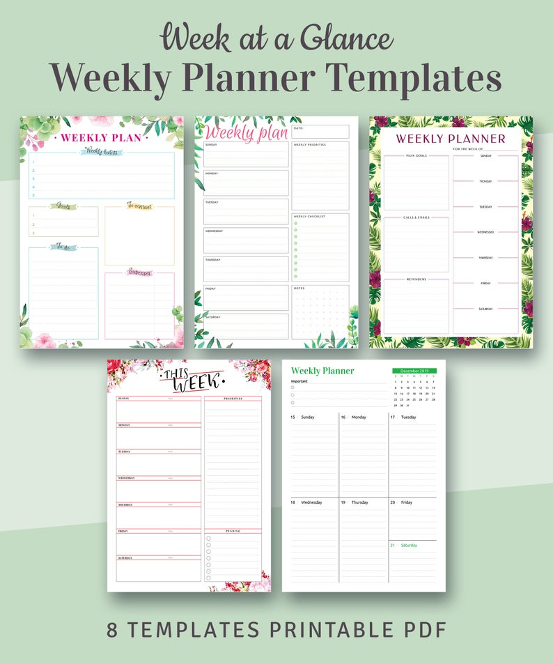 Weekly Planners Kit Printable Week At A Glance Templates 8