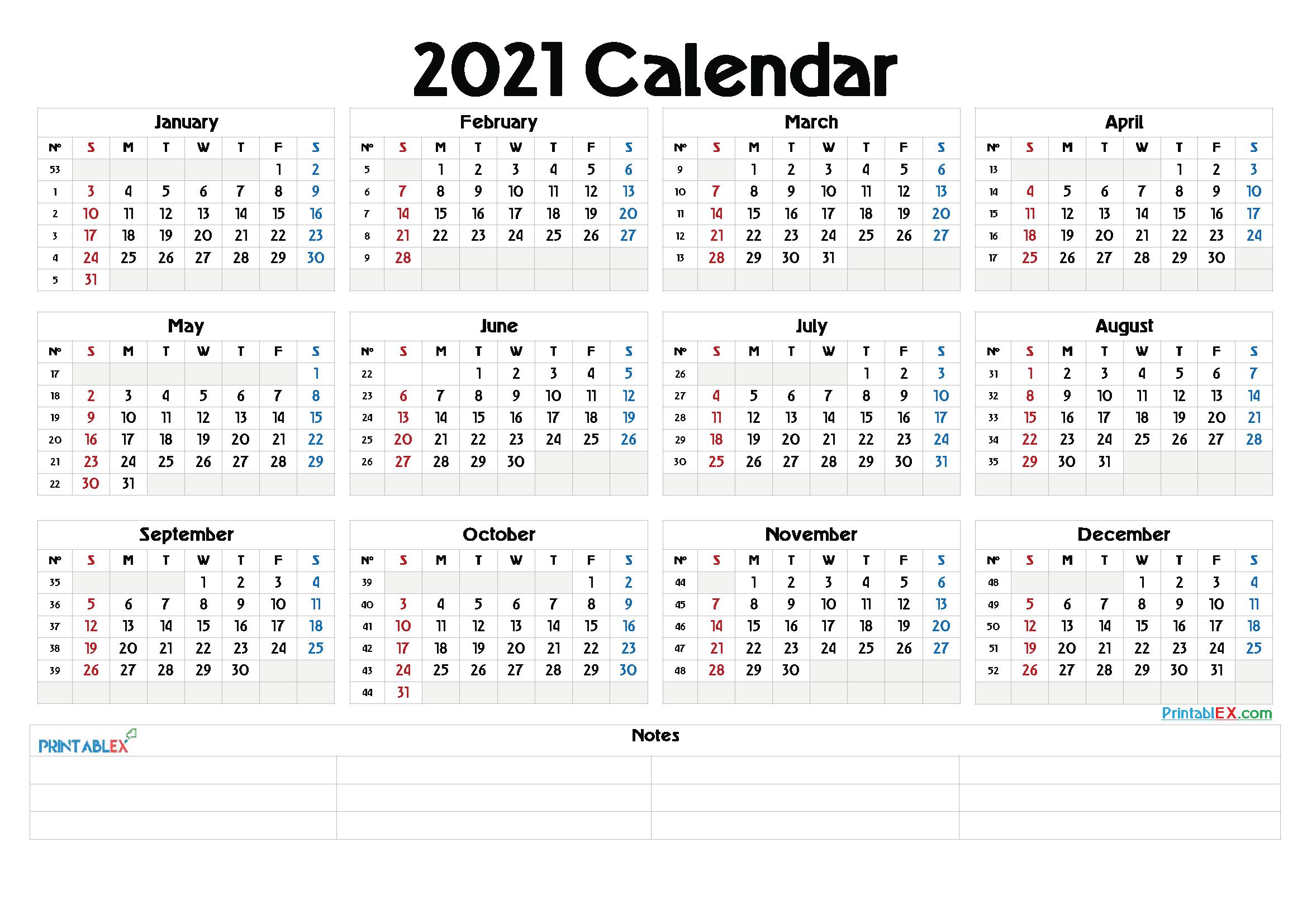 Whole Year Calendar 2021 | Printable Calendars 2021