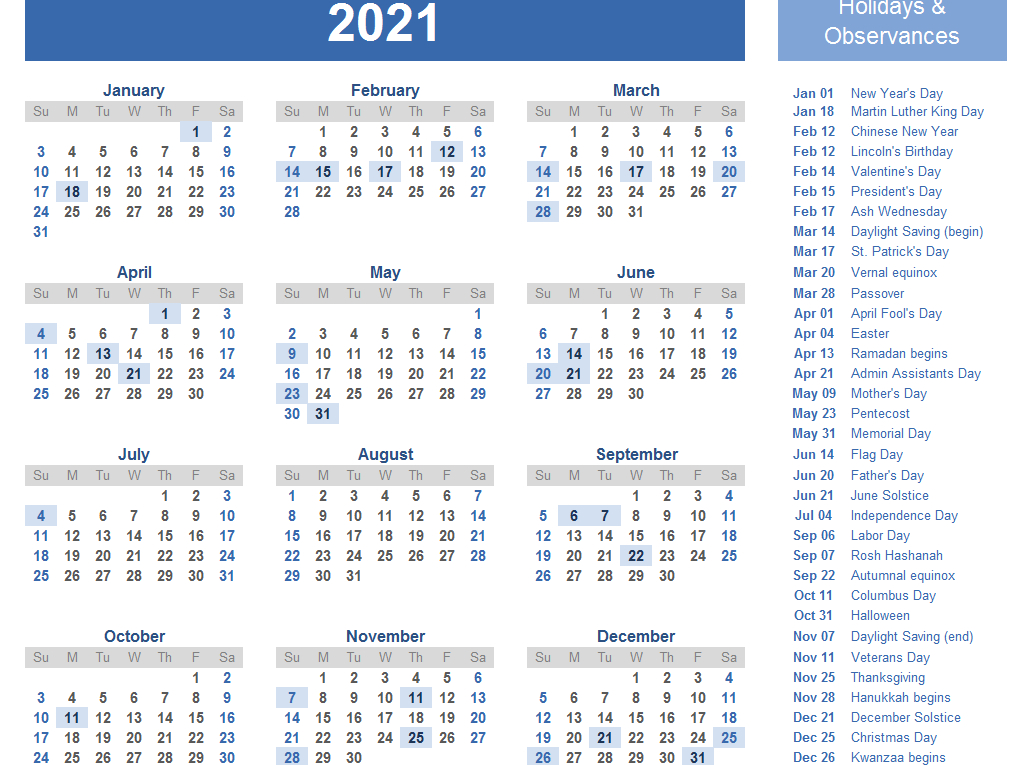 Yearly 2021 Printable Calendar Template - Pdf Word Excel