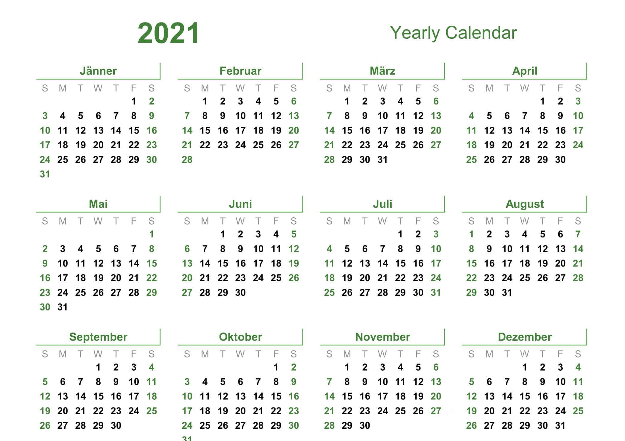 Yearly Calendar With Notes 2021 Editable Template - Set