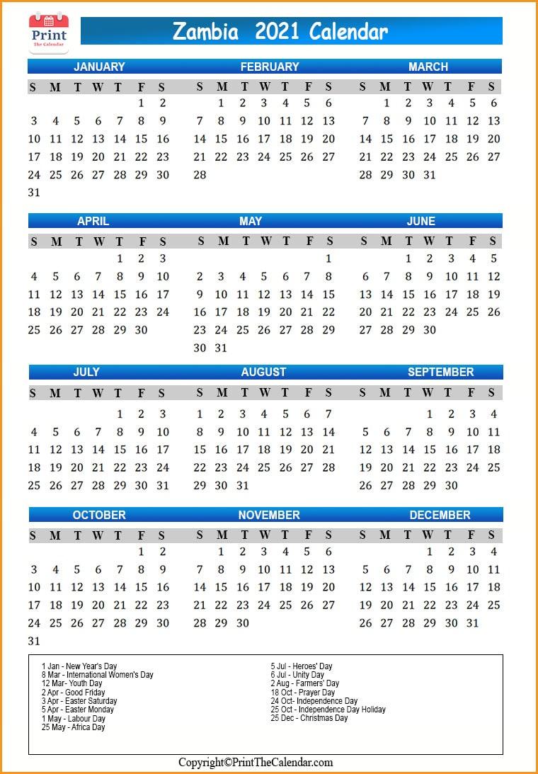 Zambia Holidays 2021 [2021 Calendar With Zambia Holidays]