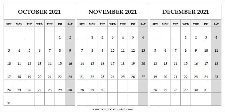 Blank Calendar Template October To December 2021 - 2021