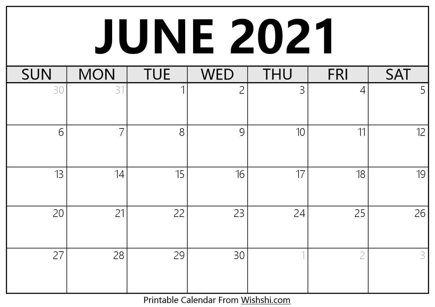 June 2021 Calendar Printable - Free Printable Calendars