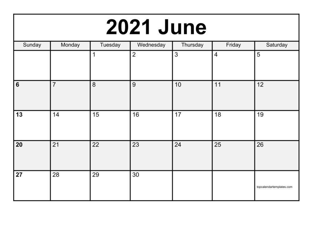 June 2021 Printable Calendar - Monthly Templates