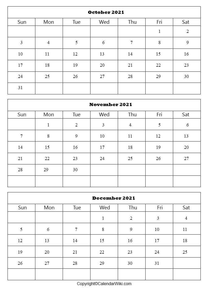 October November December Calendar 2021   Printable The